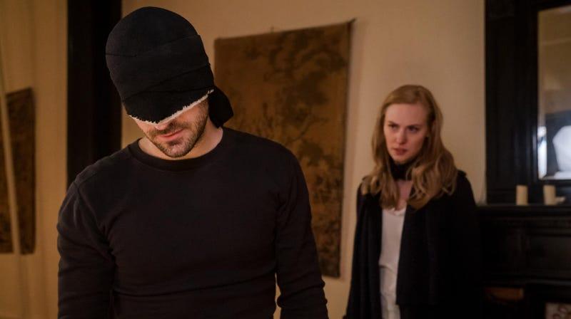 Charlie Cox as Matt Murdock and Deborah Ann Woll as Karen Page.