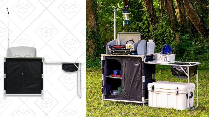 Camco 51097 Deluxe Camping Kitchen/Grill Table, $99 with $25 off coupon.