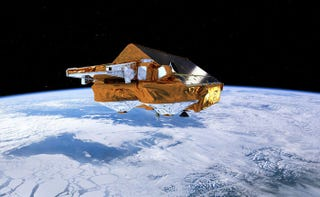 The ESA's Cryo-Sat satellite, hovering over our rapidly disappearing ice sheets. Image: ESA