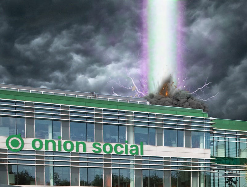 Illustration for article titled 'Humanity Deserves To Live In Darkness,' Onion Social Algorithm Cries Out Before Bursting Into Bright Light, Disappearing From Earthly Realm