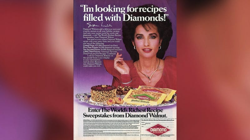 Illustration for article titled Nothing Is Better Than This 1985 Ad for Walnuts Featuring Soap Legend Susan Lucci