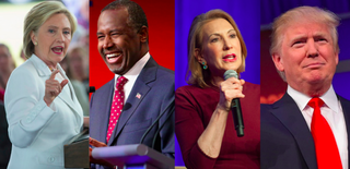 Presidential hopefuls Hillary Clinton, Ben Carson, Carly Fiorina and Donald TrumpScott Olson/Getty Images; Chip Somodevilla/Getty Images; Laura Segall/Getty Images; MANDEL NGAN/AFP/Getty Images