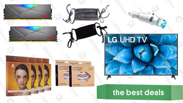 Saturday s Best Deals: LG 75-Inch Smart 4K TV, XPG DDR4 RAM, Hydrating Collagen Masks, Onzie Face Masks, Car Safety Multi-tool, and More