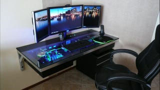 Today S Featured Worke Actually Has A Computer Built Into Desk With Gl Top For Some Pretty Incredible Illumination
