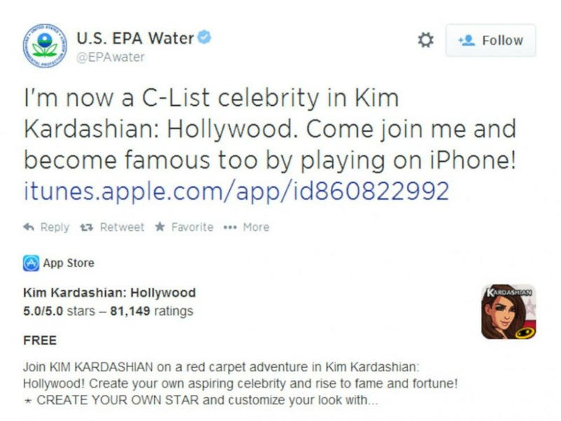 Illustration for article titled Even the EPA Can't Stop Playing Kim Kardashian's Mobile Game