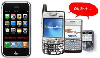 Illustration for article titled Gartner Says iPhone Now OK for Biz; BlackBerry and Window Mobile Mess Selves