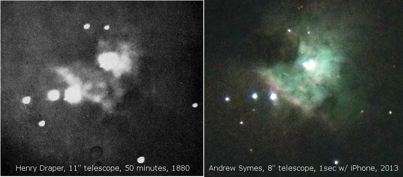 Illustration for article titled The first photo of the Orion Nebula compared to one taken by an iPhone