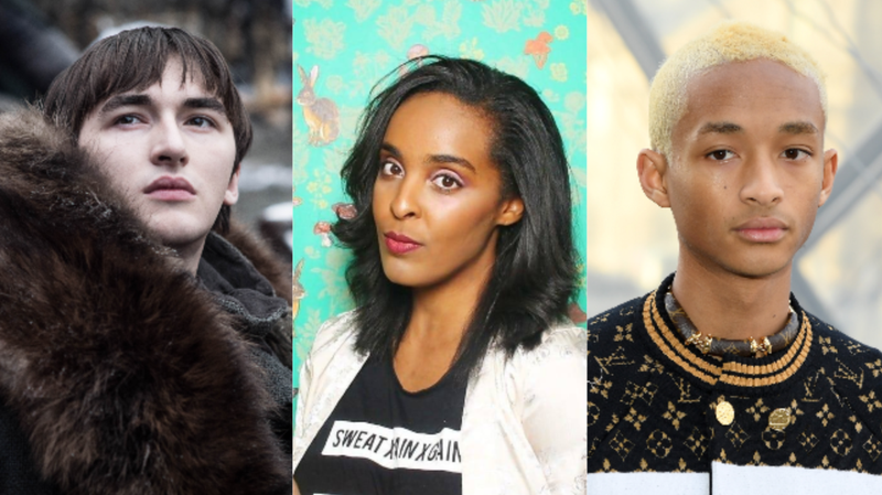 (L-R): Isaac Hempstead Wright in Season 8 of Game of Thrones ; Corin Wells ; Jaden Smith attends the Louis Vuitton show as part of the Paris Fashion Week Womenswear Fall/Winter 2019/2020 on March 05, 2019 in Paris, France.