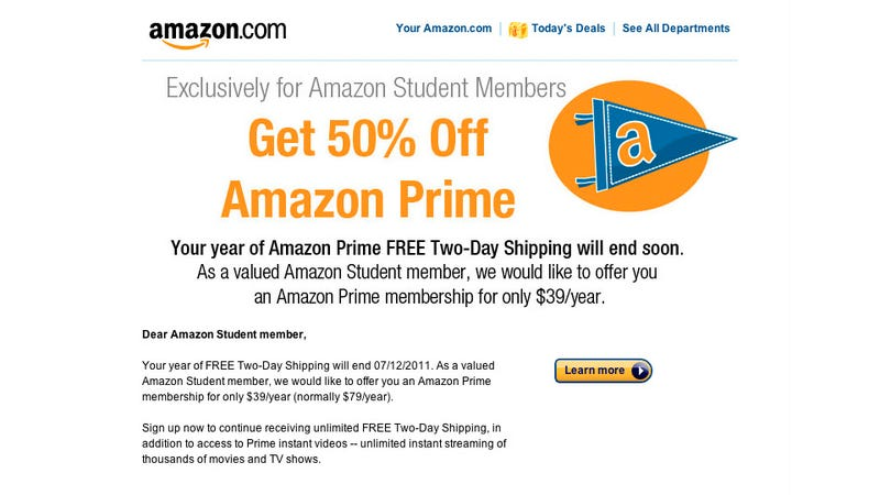Illustration for article titled Amazon Prime For Students Now 50% Off at $39