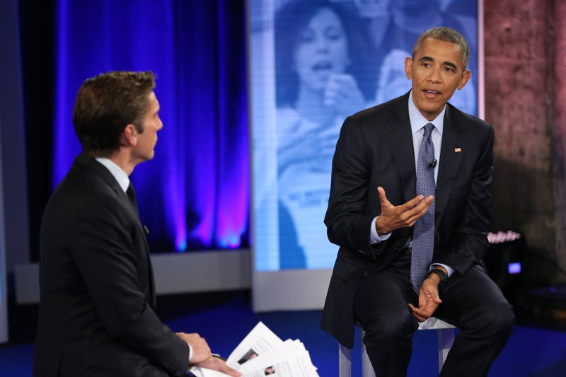 "World News Tonight anchor David Muir with President Barack Obama during the national town hall ""The President and the People: A National Conversation,"" which aired July 14, 2016Martin H. Simon/ABC via Getty Images"