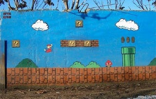 Illustration for article titled Super Mario Mural: And ... Mario's Already Missed a Coin