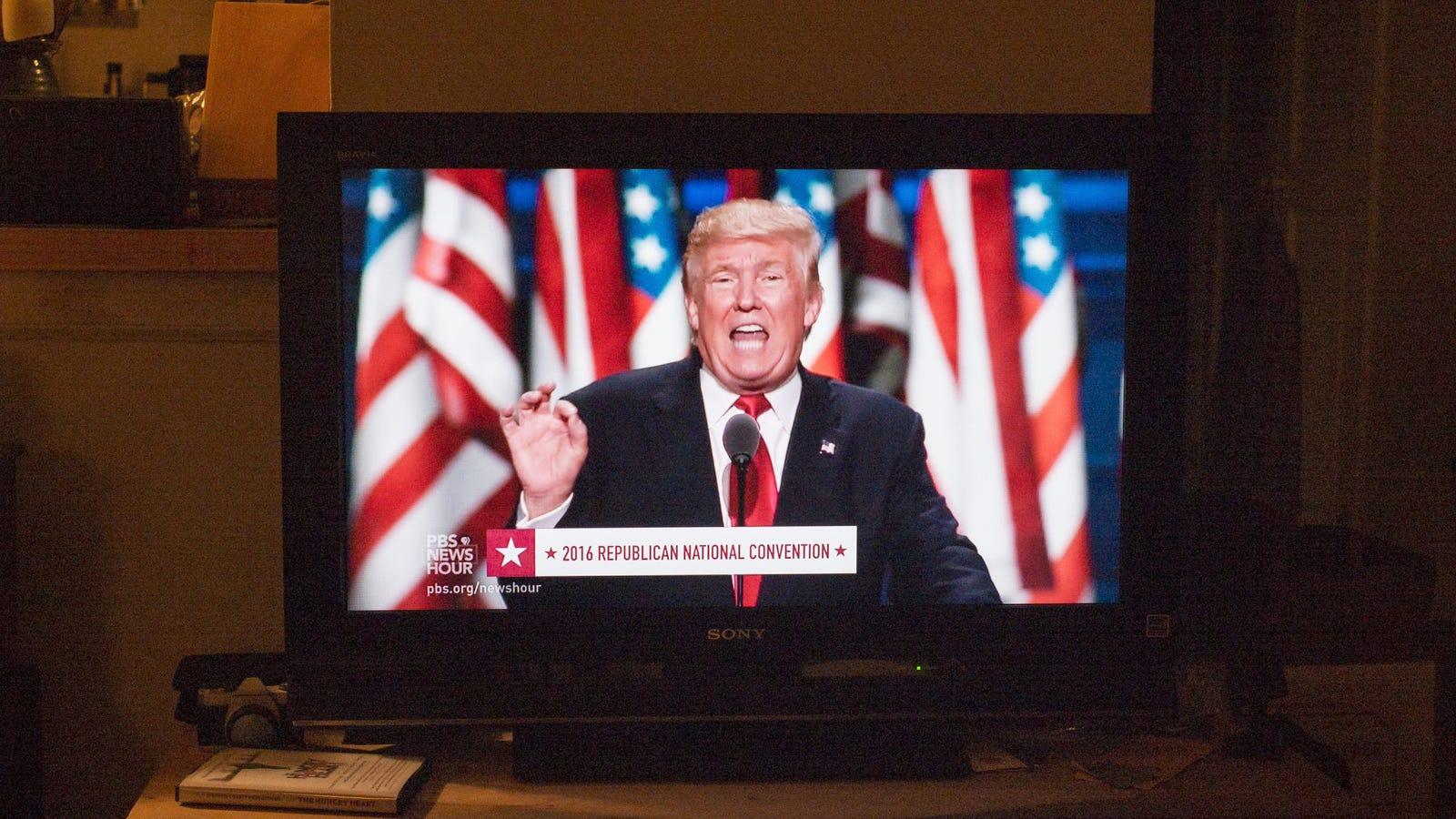 Hasil gambar untuk donald trump on tv