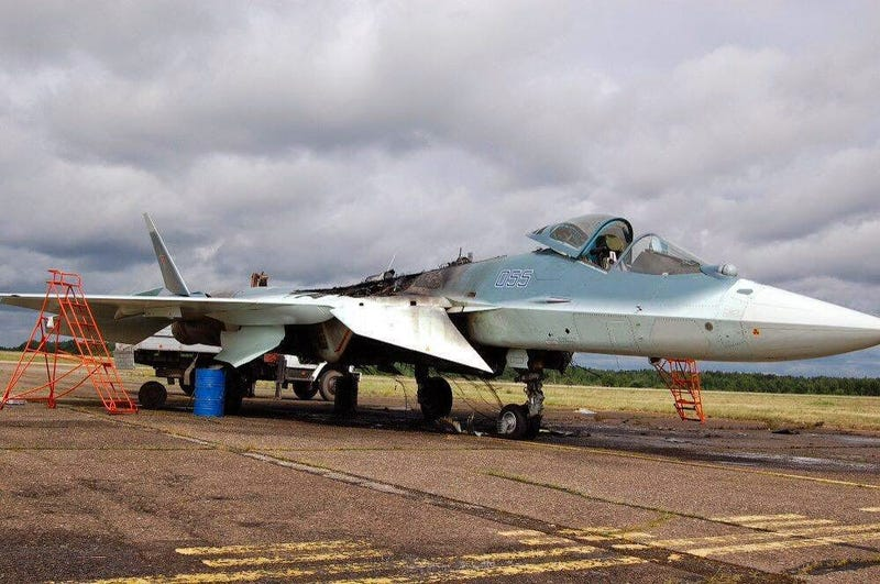 Illustration for article titled This Is What A BBQ'd Russian 5th Generation Fighter Looks Like
