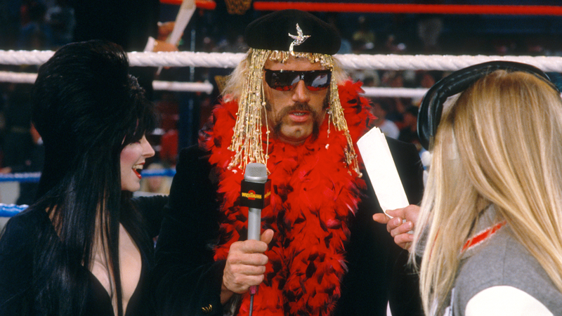 Just two weeks after his attempt at unionizing was busted, Jesse Ventura prepares for a live shot with Elvira at WrestleMania 2.
