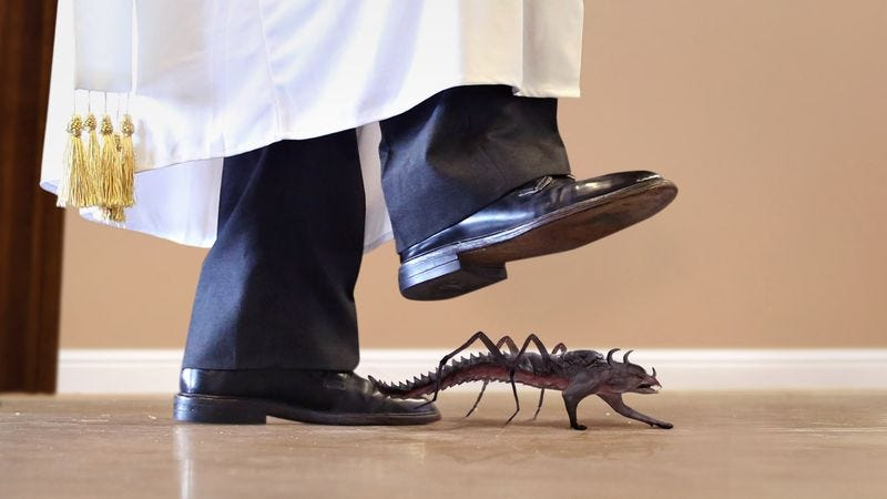 Illustration for article titled Pope Francis Crushes Small Demon Crawling Across Papal Apartment Floor