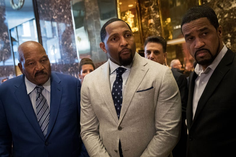 Former professional football player Jim Brown, former professional football player Ray Lewis and Pastor Darrell Scott speak to reporters at Trump Tower in New York City on  Dec. 13, 2016. (Drew Angerer/Getty Images)