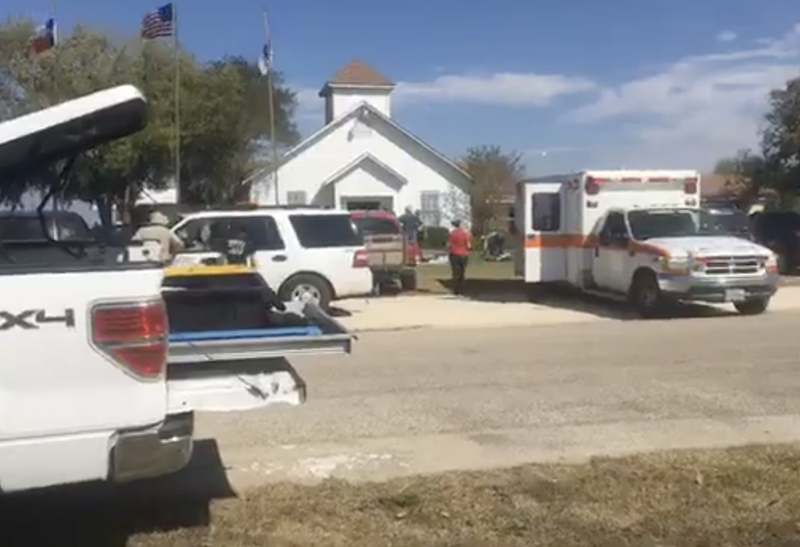 First Baptist Church in Sutherland Springs, Texas, where a mass shooting took place Nov. 5, 2017 (KSAT-TV screenshot)