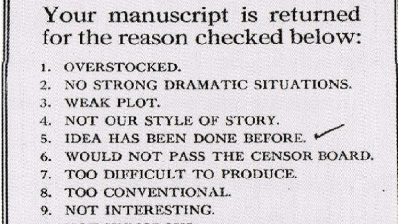 Illustration for article titled If this manuscript rejection form is any indication, the film business used to be much more curmudgeonly
