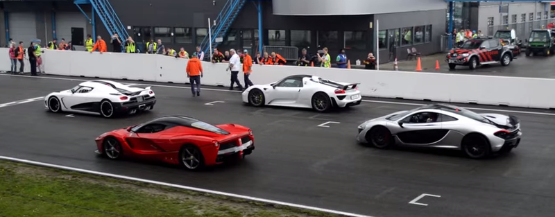 Illustration for article titled Here's A LaFerrari, P1, 918 Spyder, And An Agera R Together On Track