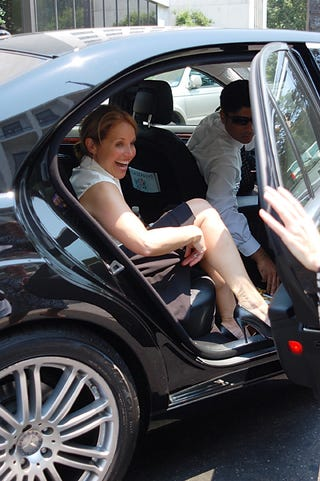 Illustration for article titled Katie Couric Attempts Demure Exit From Car