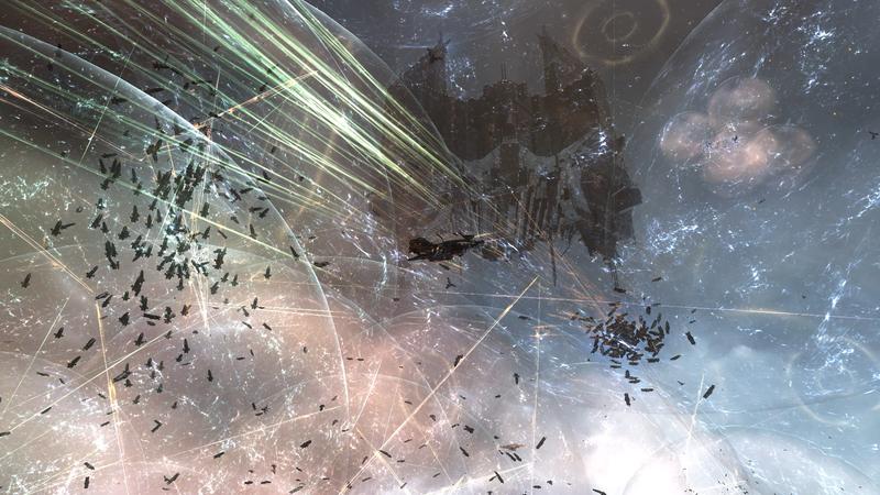 A massive fleet fight in EVE Online.