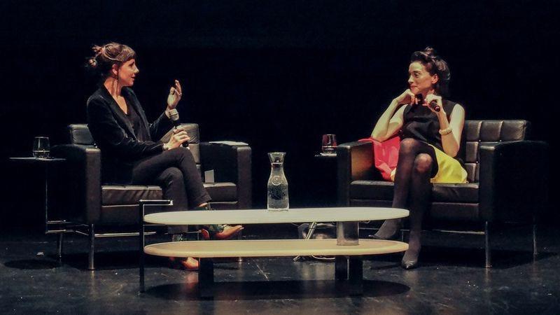 Hopper interviewing Annie Clark in Chicago Photo: Joshua Mellin