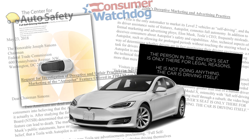 Illustration for article titled Consumer Group Says Tesla's Autopilot Is 'Deceptive,' Calls For Investigation