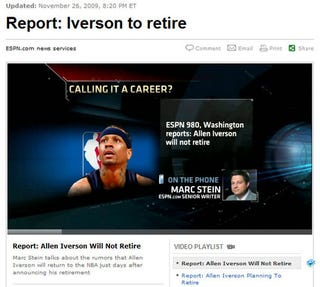 Illustration for article titled Allen Iverson To Retire. Unless He Doesn't.