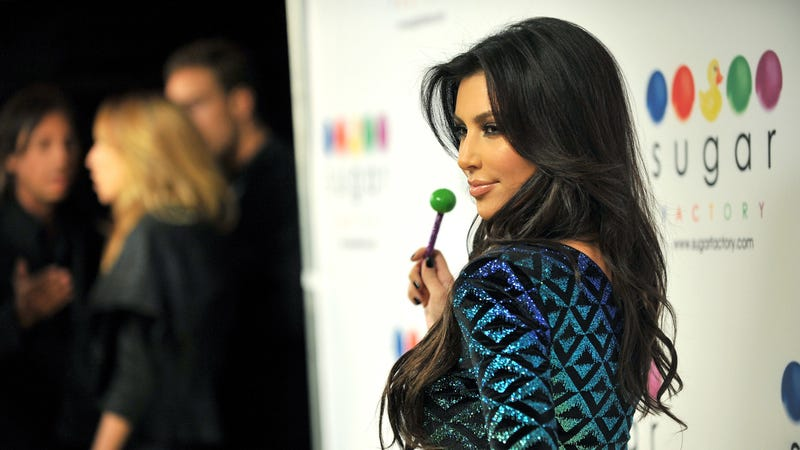 Kim Kardashian West enjoying a real lollipop in 2010.