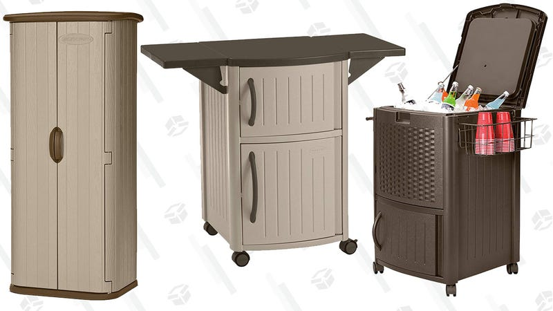 Suncast Outdoor Trash Hideaway | $31 | AmazonSuncast  Resin Wicker Cooler | $72 | AmazonSuncast Outdoor Cooler | $84 | AmazonSuncast  Vertical Utility Shed | $210 | AmazonSuncast Outdoor Prep Station | $80 | Amazon
