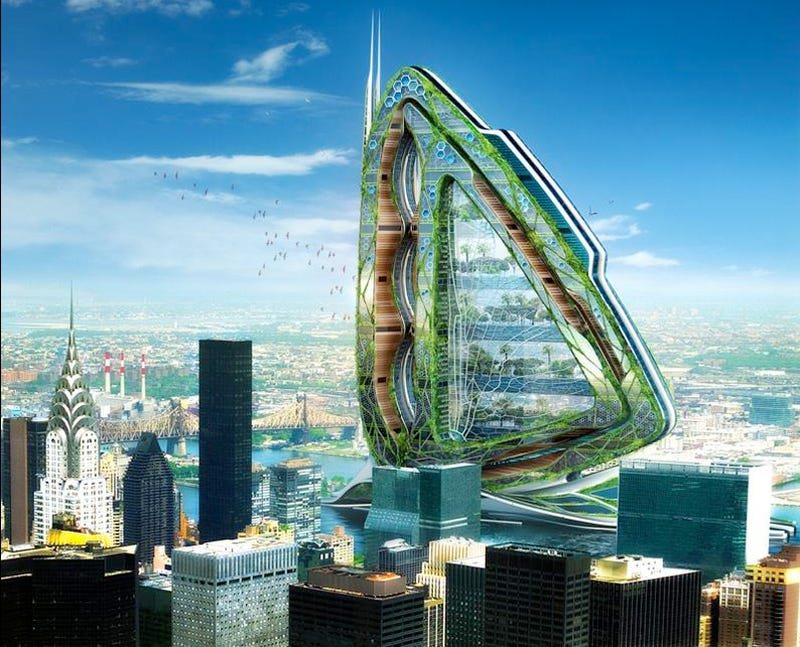 Illustration for article titled Dragonfly Skyscraper Farm Will Give Pigs the Best Views of Manhattan