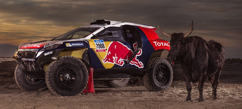 Illustration for article titled Peugeot's Off-Road Hot Hatch Racer Looks Faster With Red Bull Graphics