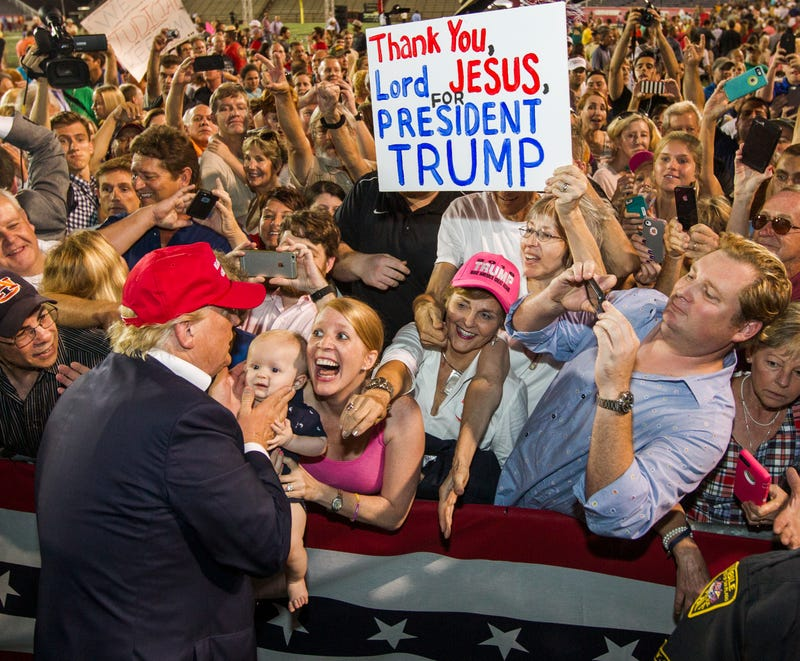 Republican presidential candidate Donald Trump greets supporters after a rally Aug. 21, 2015, in Mobile, Ala.Mark Wallheiser/Getty Images