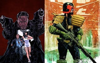Illustration for article titled Punisher visits a massage parlor and Judge Dredd strikes a pose