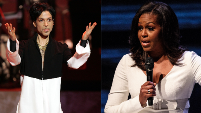 (L-R): Musician Prince is seen on stage at the 36th NAACP Image Awards on March 19, 2005 in Los Angeles, California. Prince was honored with the Vanguard Award. ; Former U.S. First Lady Michelle Obama speaks at The Royal Festival Hall on December 03, 2018 in London, England.