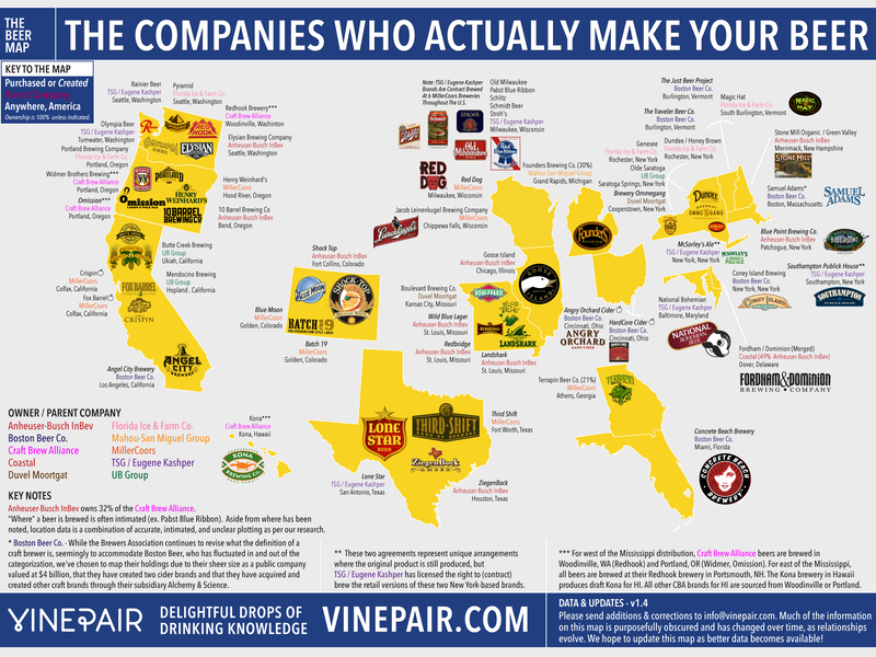 Illustration for article titled This Map Shows You Which Companies Actually Make the Beer You Love