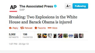 Illustration for article titled Why That AP Tweet About the White House Explosions Is Definitely Fake
