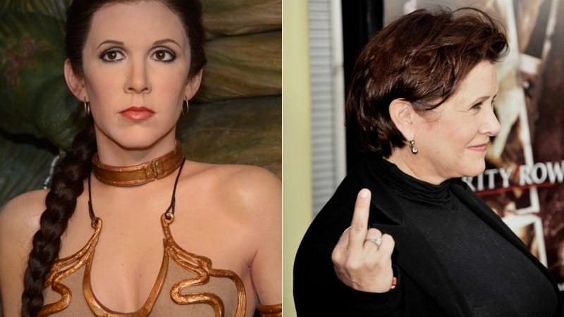 Princess Leia wax figure at Madame Tussaud London; Carrie Fisher in 2009. Images via Getty.