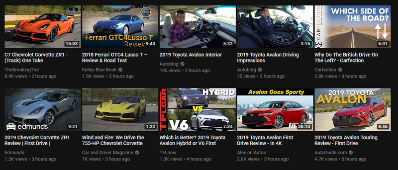 Illustration for article titled My Youtube Subscription feed has been inundated with Corvette ZR1 and Toyota Avalon videos. You know what I'm doing at work this morning then...