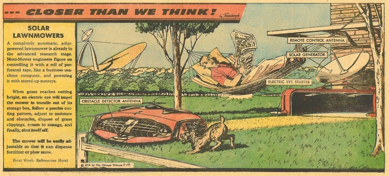 Illustration for article titled This Solar Lawnmower Was the Dangerous Future of American Summers in 1959