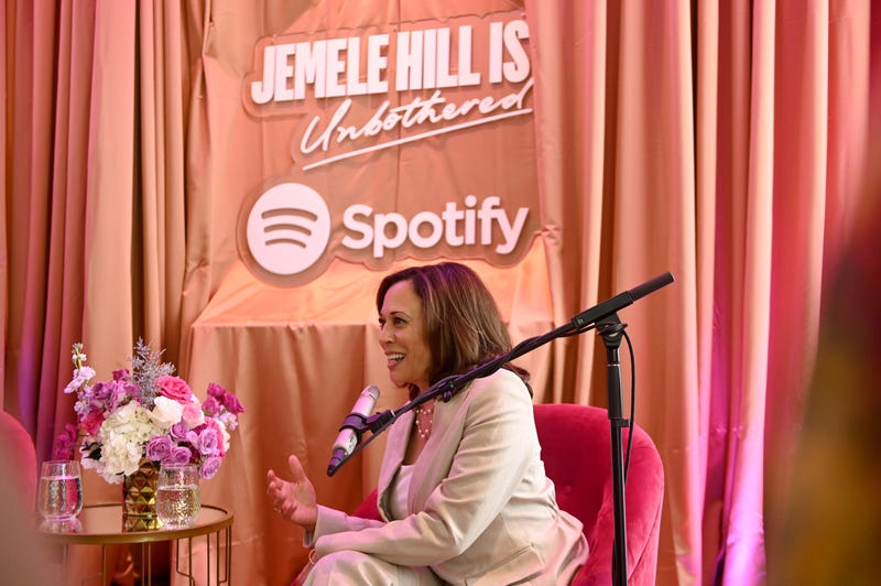 """Sen. Kamala Harris (D-Calif.) speaks during the Spotify House Of Are & Be Podcast Session Presenting """"Jemele Hill Is Unbothered Live With Senator Kamala Harris"""" on July 6, 2019, in New Orleans."""
