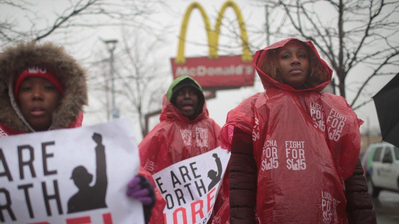 McDonalds workers and their supporters protest outside of a company-owned restaurant on April 3, 2018 in Chicago, Illinois.