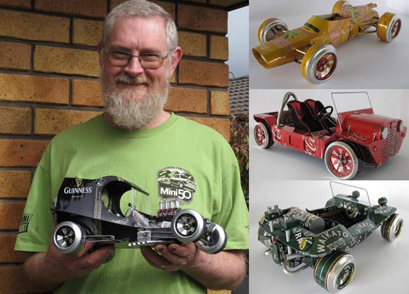 Illustration for article titled Man Builds Detailed Model Cars From Discarded Aluminum Cans