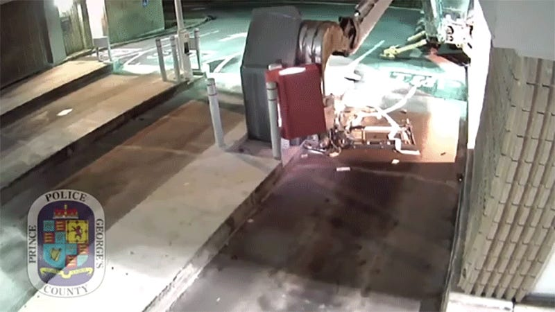 Caught on camera: Backhoe smashes open ATM