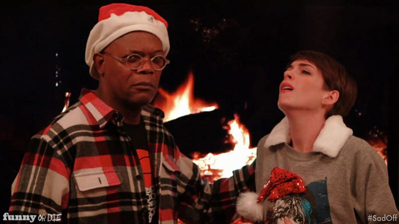 Illustration for article titled Anne Hathaway and Samuel L. Jackson Get in a Holiday Sad-Off