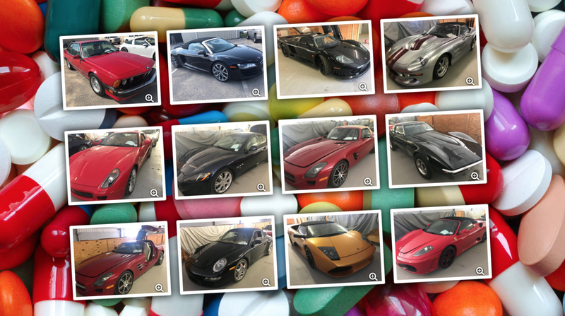 Illustration for article titled Doctors Who Ran Illegal 'Pill Mill' Had A Hell Of A Car Collection And Now It's Up For Auction