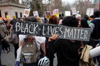 Protesters gather at Union Square in New York City April 14, 2015, during a demonstration against the recent shooting death of Walter Scott by a South Carolina police officer.JEWEL SAMAD/AFP/Getty Images