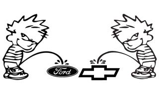 Illustration for article titled Ford vs. Chevy debate turns into fist vs. knife