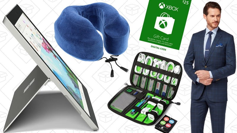 Illustration for article titled Today's Best Deals: The Best Travel Pillow, Xbox Gift Cards, Custom Suits, and More