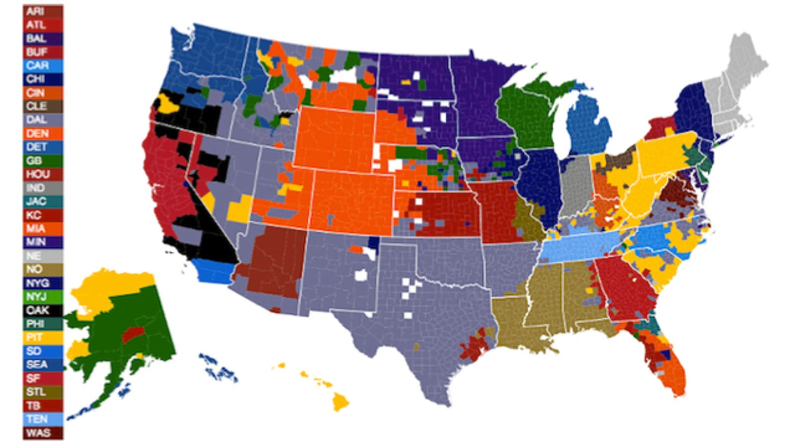 NFL fans by U.S. county, according to Facebook Ge County Map on